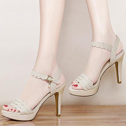 Shoeshaoge Taiwan Talons Imperméables Eu38 Fine Chaussures Hauts À Poisson Tirant 94 Femme Sandales Bouche Avec De uk5 rAqwI0pr