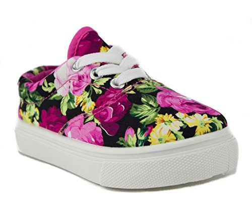 Ositos Toddler Girls Cay-04I Floral Print Canvas Low Rise Sneakers Shoes, Fuchsia, (Low Rise Sneakers Shoes)