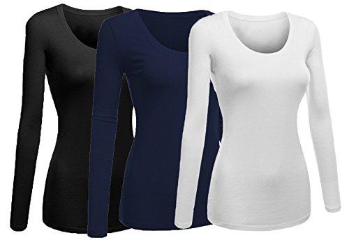 Emmalise Women's Junior and Plus Size Basic Scoop Neck Tshirt Long Sleeve Tee, Medium, 3Pk White, Navy, Black