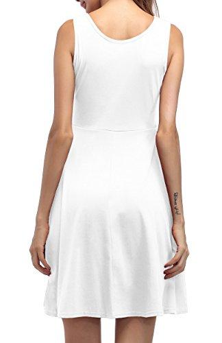 ... ZJCTUO Damen Ärmelloses Beiläufiges Strandkleid Sommerkleid Tank Kleid  Knielang Weiß 0sz2n4 dbcdc55516