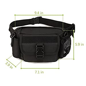 Multi functional Waist Pack, WOTOW Military Single Shoulder Hip Belt Bag Fanny Packs Water Resistant Waist Bag Pouch Hiking Climbing Outdoor Bumbag with Water Bottle Pocket Holder (Black)