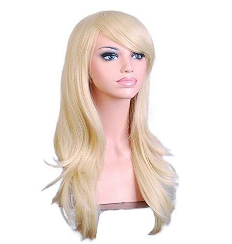 Blonde Cosplay Wigs Long Hair Anime Costume Party Wigs 28 Inch Full Head Synthetic Wavy Halloween Wigs for (Halloween Costume Blonde)
