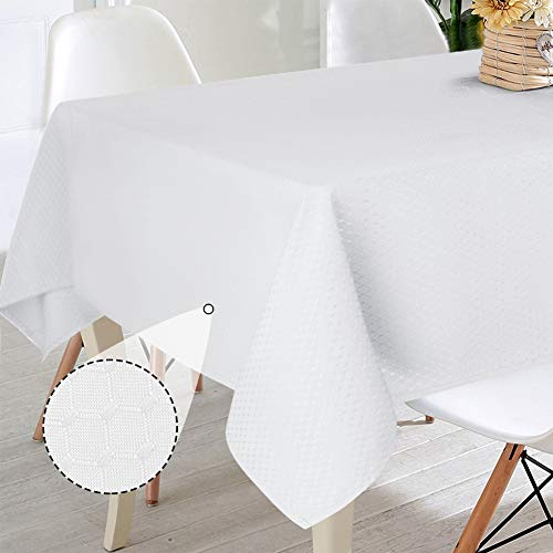 VCVCOO Minimalism Rectangle Tablecloth - 60x 84 Inch - Pure White Waffle Table Cloth for 6 to 8 People Table Washable Polyester - Great for Buffet Table, Parties, Holiday Dinner, Wedding and More (Person Four Table)