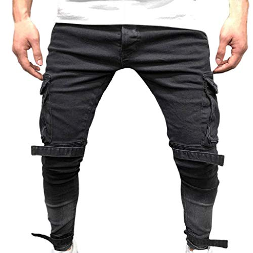 (Men's Denim Sweatpants REYO Cotton Straight Ripped Hole Trousers Distressed Jeans Autumn Pants)