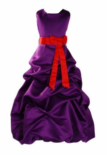 Cinda Robe De Demoiselle D'honneur Pourpre Ceinture Rouge