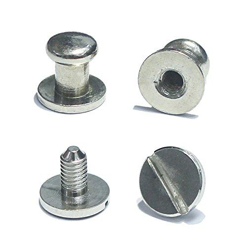 Inton 50 Sets - Head Button 6mm Brass Stud Screwback Screw Back Spots for Leather Rivet 5/16(8mm, Nickel)
