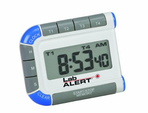 Heathrow Scientific HEA24670 Lab Alert Digital Four Channel Pocket Timer/Clock
