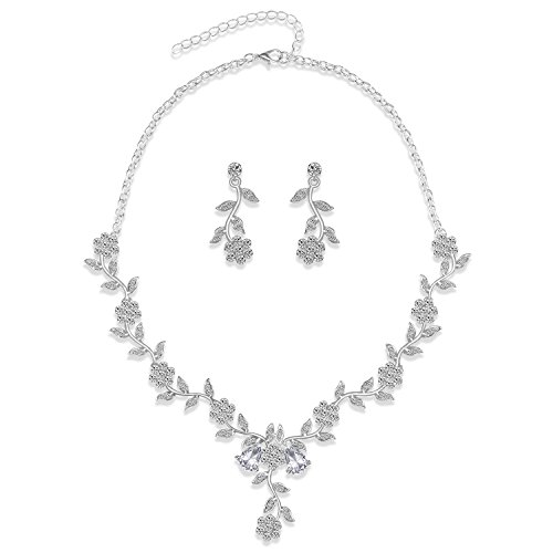 - LILIE&WHITE Crystal Flower Necklace and Earrings Jewelry Set for Wedding Bridal
