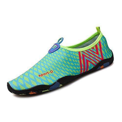 Humasol Men Womens Lightweight Quick-Dry Aqua Shoes Multifunctional Water Socks for Swim Beach Pool NCheck-Light blue