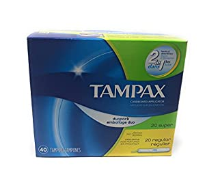 Tampax Cardboard Applicator Tampons ~ 40 count ~ Regular & Super