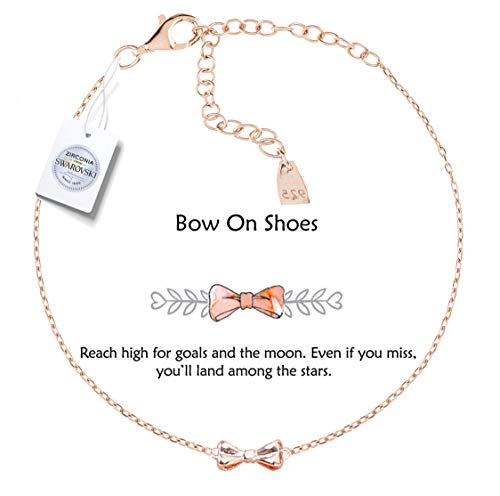 (Vivid&Keith Womens Girls 925 Real Sterling Silver 18K Plated Swarovski Zirconia Cute Adjustable Gift Fashion Jewelry Link Chain Charm Pendant Bangle Bracelet, Bow On Shoes, Rose Gold Plated)