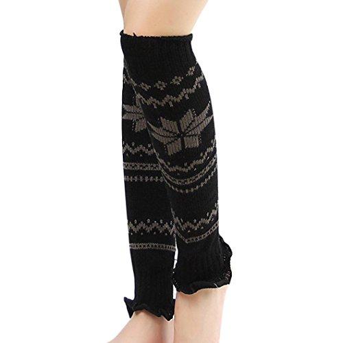 Warmers To Arm Knit How - Women Winter Warm Knit Crochet High Knee Leg Warmers Leggings Boot Socks (Black -B)