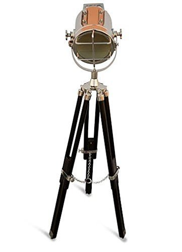 Nautical Black Tripod Spot Light Chrome Searchlight Spotlight Marine Wooden Tripod Floor Lamp Lighting Stand