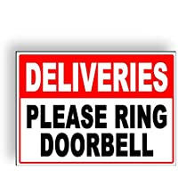 Deliveries Please Ring Doorbell Metal Sign Aluminium Sign, 6x9 Inches