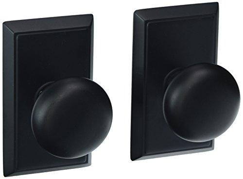 Providence Door Set With Round Brass Knobs Double Dummy In Matte Black. Doorsets. - Emtek Rectangular Plates