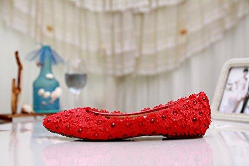 Minitoo MZLL024 Women's Slip-on Handmade Satin Wedding Party Evening Prom Pumps Shoes Red-Flat v7IEyzsOP