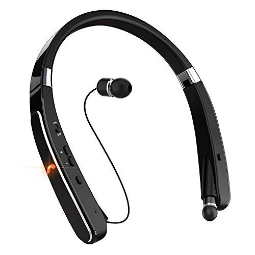 Bluetooth Headset, Bluetooth Headphones-EGRD 30 Hrs Playtime Wireless Neckband Design W/Foldable Retractable Headset Compatible Cellphones (Black)
