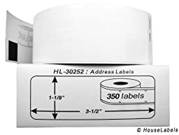 6 Rolls; 350 Labels per Roll of DYMO-Compatible 30252 Address Labels (1-1/8\