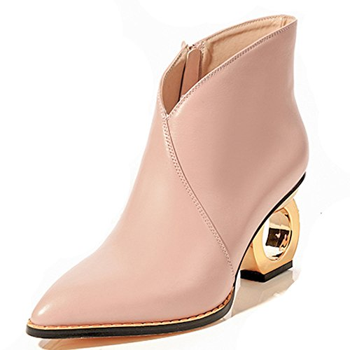 Women's Elegant Fashion Booties Pointed Heel Genuine Exquisite Leather Style Dress Seven Pink Ankle Nine Toe Handmade t84TqRgw