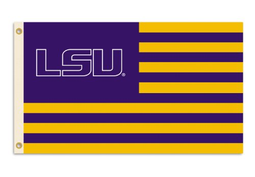 NCAA Louisiana State Fightin Tigers 3-by-5 Foot Flag Logo with Stripes with Grommets