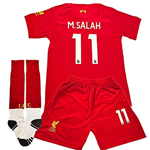 #11 M Salah Liverpool Home Soccer Jersey 2019-2020 Kids Youth Soccer Jersey & Shorts & Socks (7-8Years/Size 22) Red