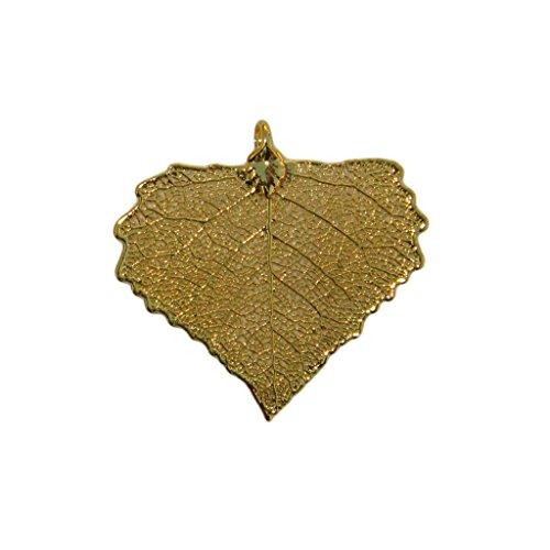 Edel-Heid 24k Gold Dipped Real Cottonwood Leaf Pendant, Gold Plated Cottonwood Leaf Necklace, Made in - Cottonwood Necklace Leaf