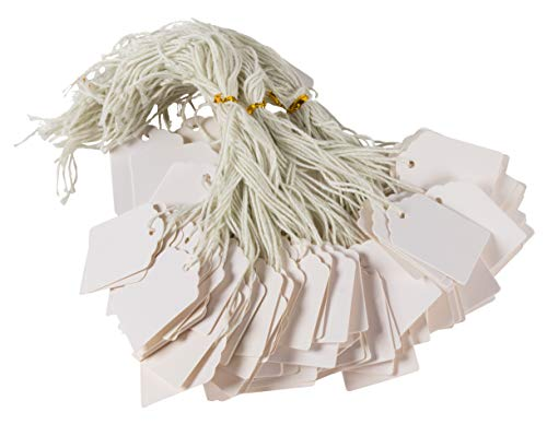 Gift Tags - 1000-Pack Paper Tags with Strings, Mini Tags, Writable Tags, Craft Hang Labels, Name Price Size Labels, for Wedding, Birthday, Holiday, Party Favor, White, 1.375 x 1.75 inches