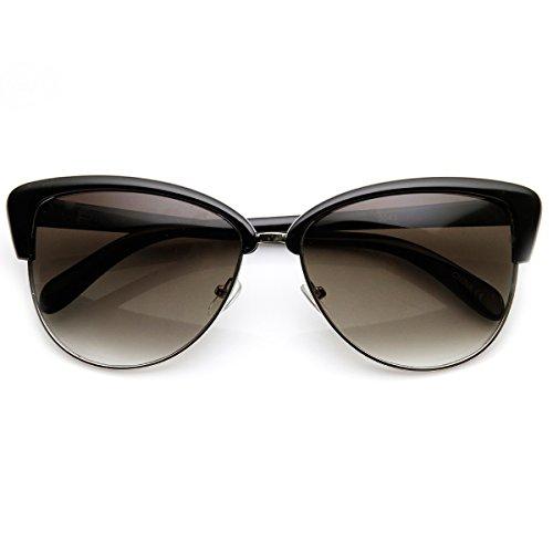 Womens Fashion Half Frame Butterfly Bow Tie Cat Eye Sunglasses (Black-Silver)