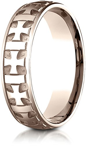 - Benchmark 14K Rose Gold 6mm Comfort-Fit Gaelic Cross Carved Design Wedding Band Ring, Size 6.75