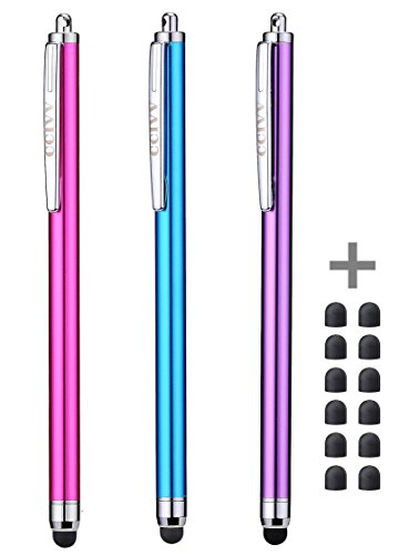 Stylus Pens for Touch Screens iPad iPhone Kindle Fire (Pink/Purple/Aqua Blue) (Best Stylus For Kindle)