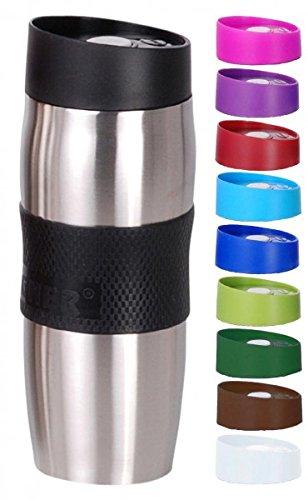 BERGNER Thermobecher - Trinkbecher - Edelstahl/Kunststoff - 380 ml - Isolierbecher - Kaffeebecher - Becher - Farbe wählbar, Farbe:Schwarz