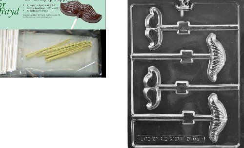 Cybrtrayd 45StK50-D112 Mustache Assortment Lolly Chocolate Candy Mold with Lollipop Supply Kit, Includes 50 4.5-Inch Lollipop Sticks, 50 Cello Bags and 50 Metallic Twist Ties