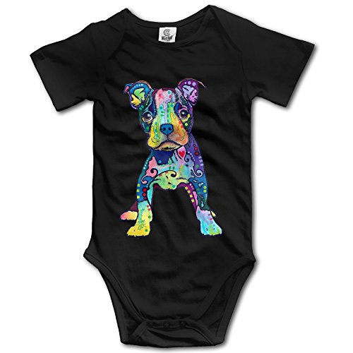 [Infants Boy's & Girl's Puppy Graffiti Pop-Art Rainbow Colors Short Sleeve Bodysuit Outfits For 6-24 Months Black] (Pop Art Girl Costume Outfit)