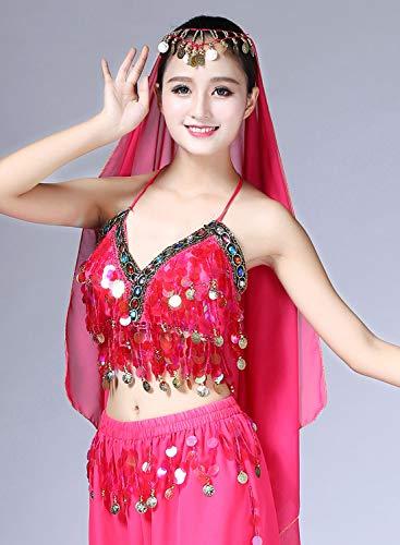 para Roja Rosa disfraz para para oriental Sujetador del con Halloween 10 colores Sin respaldo Bailarina vientre mujer Traje Top Aivtalk con danza relleno Sujetador lentejuelas EwSFqF