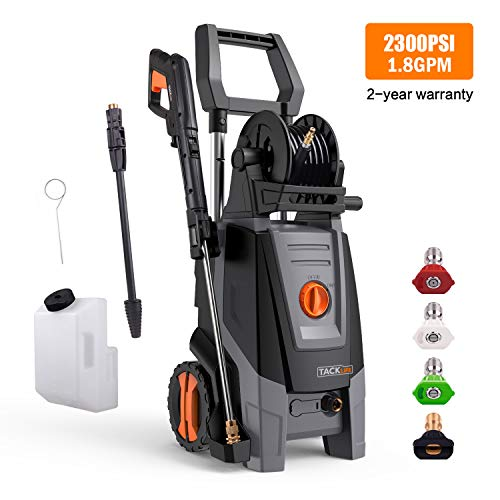 Cheap Pressure Washer, High Efficiency 2300 PSI 1.8 GPM 2000W Electric Power Washer, Pressurized Hose Reel and Lever Telescopic, with Detergent Tank and Rotating Nozzle Gun for Improved Cleaning Efficiency