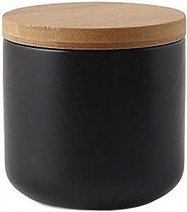 Pure Color Ceramic Sugar Bowl with Wooden Lid Sugar Dispenser Salt Pepper Storage Jar Pot Sugar Container Seasoning Pot Box Condiment Spice Racks Holder for Home Kitchen, Black