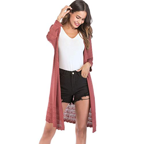 FANOUD Women's Loose Gradient Solid Knit Tassel Cardigan Retro Long Sleeve Coat by FANOUD (Image #1)