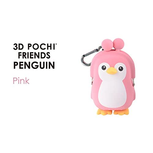 3D Pochi Friends Penguin silicone coin purse (Pink)