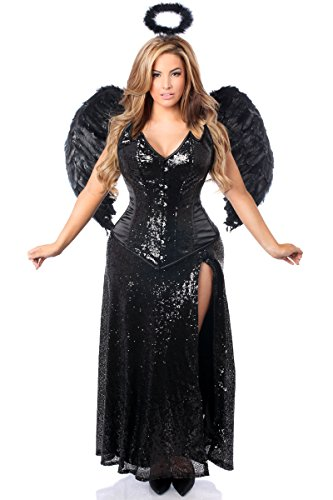 (Daisy Corsets Women's Top Drawer Premium Angel Of Darkness Corset Costume, Black,)