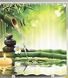 Beddinger Imperméable à l'eau et à la moisissure 3D imprimé Bambou vert et rideau de douche à eau avec crochet, 180 * 180cm