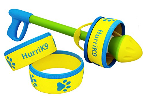 HurriK9 100+ Foot Flying Ring Launcher for Dogs Value Pack, Launcher + 6 Rings by HurriK9