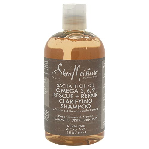 Loccitane Damaged Hair Shampoo (SHEA MOISTURE - Sacha Inchi Oil - Omega 3, 6 and 9 Repairing Shampoo - For damaged and stressed hair - Regenerates and nourishes - Softness - Shine - Elasticity - Natural ingredients - 384ml)