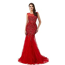 Crystal Beaded Red Feather Dress