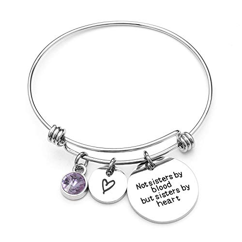 Angel's Draw Home Best Friends Bracelet- Not Sisters by Blood But Sisters by Heart Charm Bracelet- Graduation Gift,Sister Friend Jewelry (06-June)