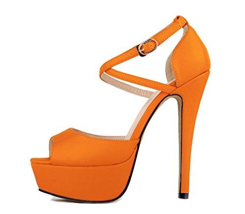 pu mujer Slip naranja tacones plataforma sandalia Moda Toe Peep On altos suave zapatos bombas Stiletto SHFdn46q