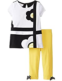 Baby Girls Infant Yellow/Black/White Geometric Flower Applique Legging Set