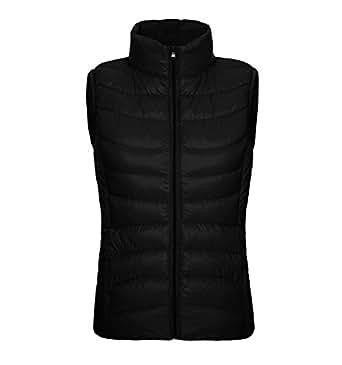 Vedem Women's Packable Ultra Light Down Gilet Winter Quilted Vest Puffer Coat (2XL, Black)