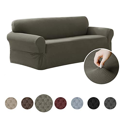 Maytex Pixel Ultra Soft Stretch Sofa Couch Furniture Cover Slipcover, Dusty Olive - Olive Fabric Sofa