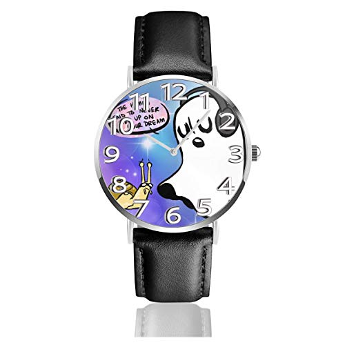 Undertale Ghost Watch Casual Black Leather Strap Wrist Watches For Men Scratch Proof Male