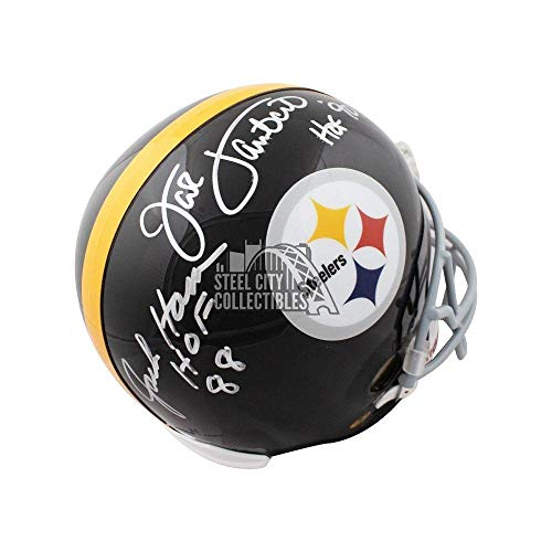 Jack Ham Jack Lambert HOF Autographed Steelers Full-Size Football Helmet (B) - JSA Certified - Autographed NFL Helmets